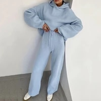 casual knit sweater hoodie trousers two piece suit sports fashion pure color simple pullover comfortable womens wear at home