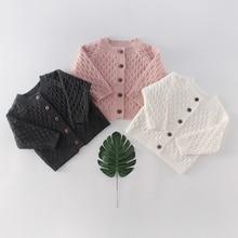Patrón de diamantes niños niñas prendas de vestir exteriores 2020 primavera bebé suéter tejido Color sólido superior versátil Cardigan recién nacido suéter de punto