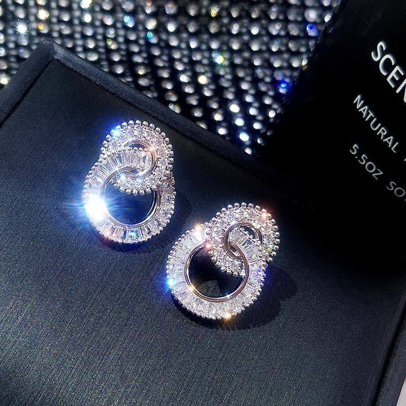 S925 sidabro spalvos apvalūs mieli bling cirkonio akmens auskarai moterims madingi papuošalai nauji Korėjos auskarai