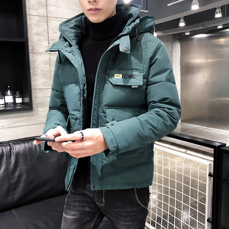 2020 New Winter Men Parka Big Pockets Casual Jacket Hooded Solid Color 5 colors Thicken And Warm hoo