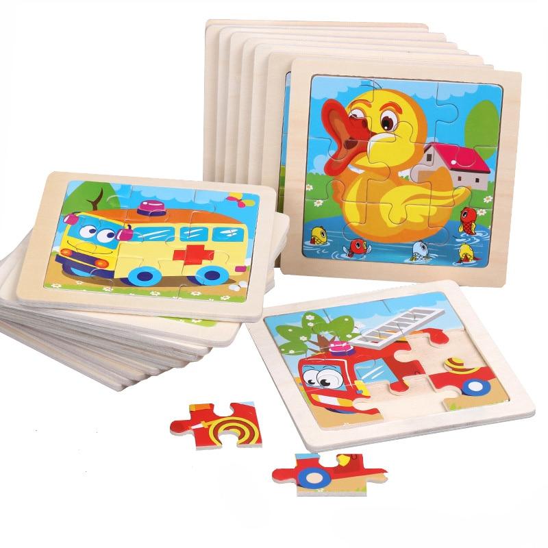 Rompecabezas de madera en 3D de tamaño Mini de 11*11CM para niños, rompecabezas de madera para niños, rompecabezas de animales de dibujos animados para bebés, juguete educativo de tráfico