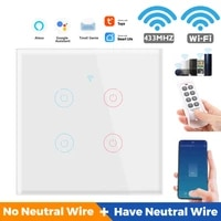 Interrupteur mural tactile intelligent  1 2 3 4 boutons  wi-fi  110 250V  compatible avec TUYA  Alexa et Google Home Assistant