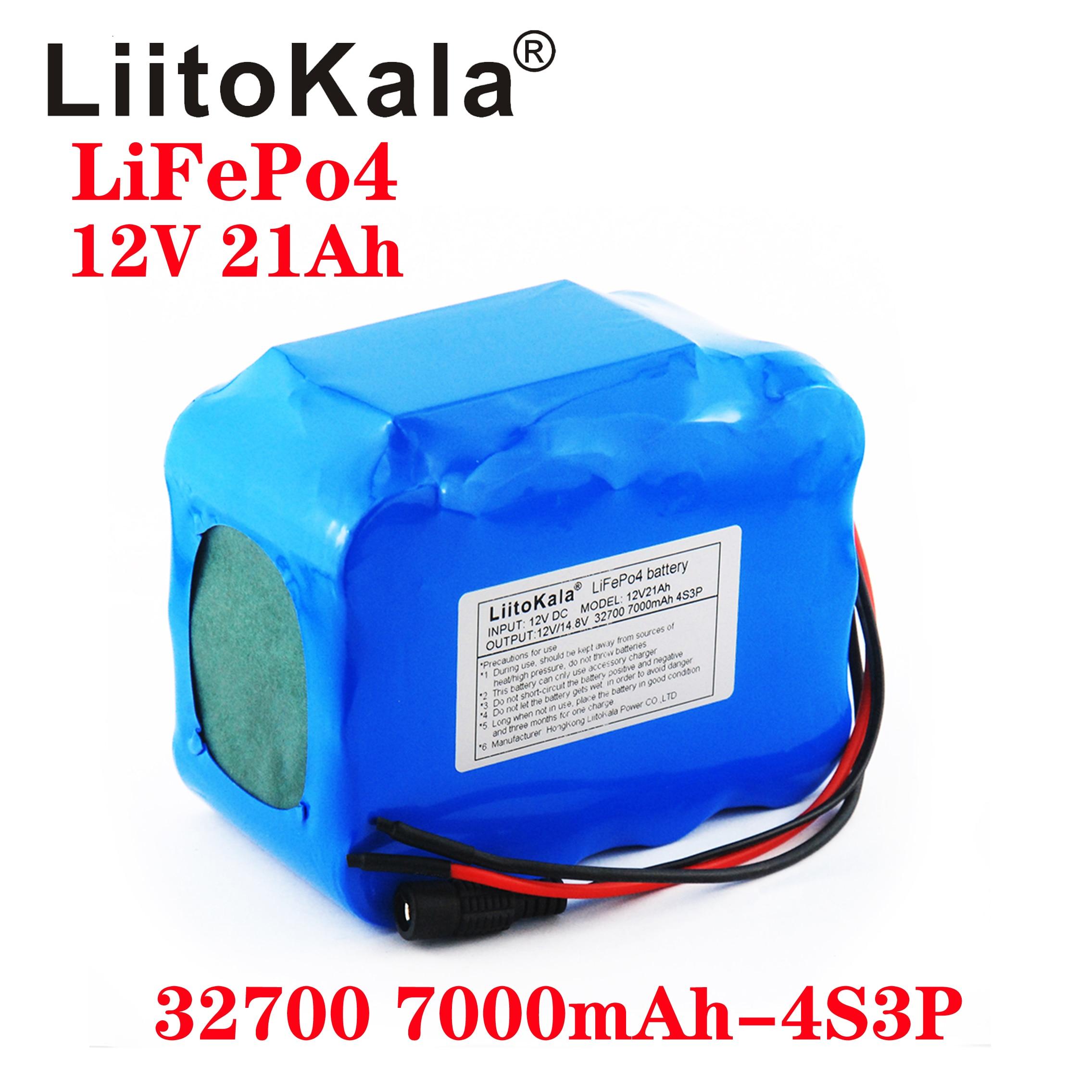 LiitoKala 32700 Lifepo4 بطارية حزمة 4S3P 12.8V 21Ah مع 4S 20A أقصى 60A متوازن BMS ل قارب كهربائي الطاقة دون انقطاع