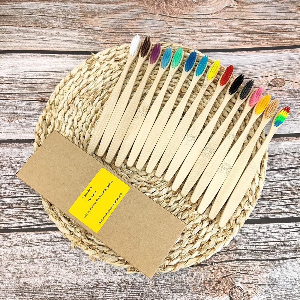 Набор зубных щеток (12 шт/17 цветов) из бамбука
