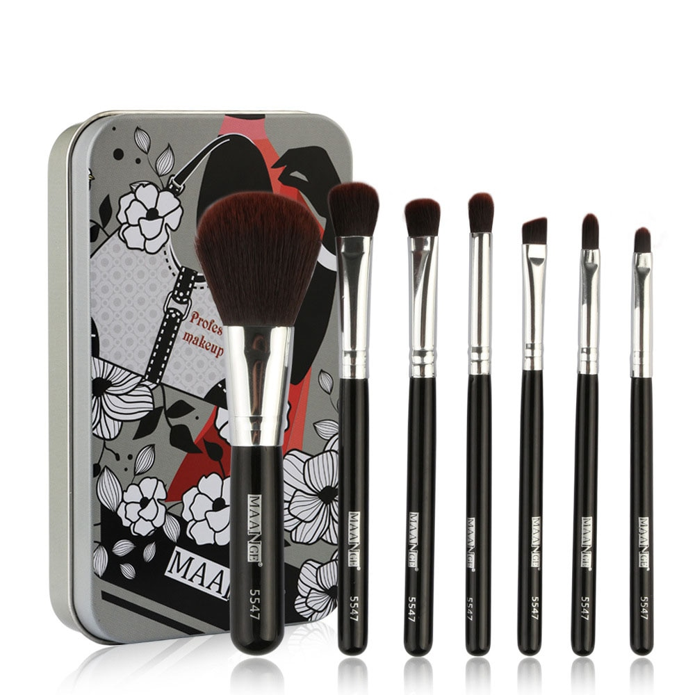 New 7PCS/Set Portable Eye Shadow Makeup Brushes With Tin box High Quality Slender And Soft Bristles Practical And Easy To Carry