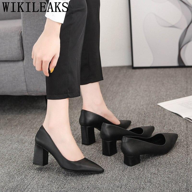 Zapatos de corte con tacones puntiagudos, zapatos de oficina para mujer, zapatos de tacón grueso de cuero para mujer, zapatos de tacón alto negro, zapato femenino Buty