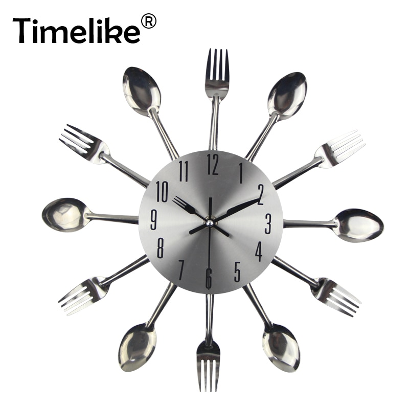 2021 Wall Clock Kitchen Noiseless Stainless Steel Cutlery Clocks Knife and Fork Spoon Wall Clock Kitchen Restaurant Home Decor