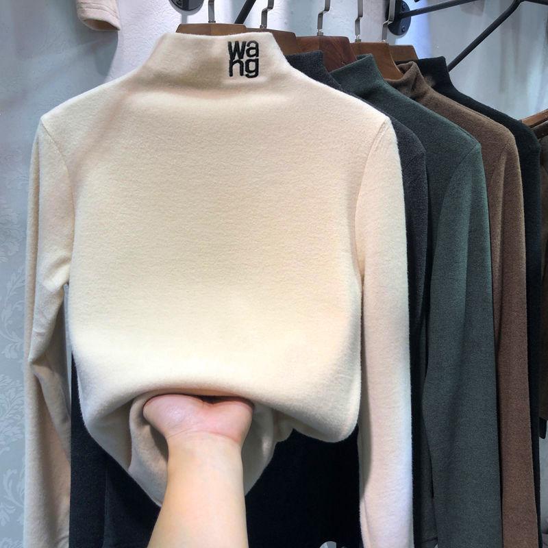 2020 fosco meia gola alta bege underpainting feminino outono e inverno novo coreano manga longa topo