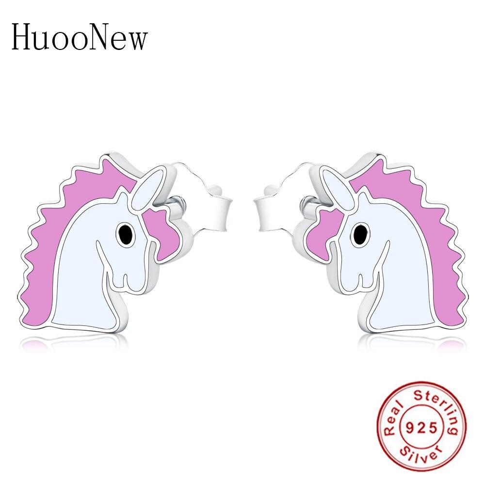 Pendientes de plata de ley S925 de lujo con esmalte Rosa lindo unicornio Pony Stud 2019 Brincos regalo Berloque
