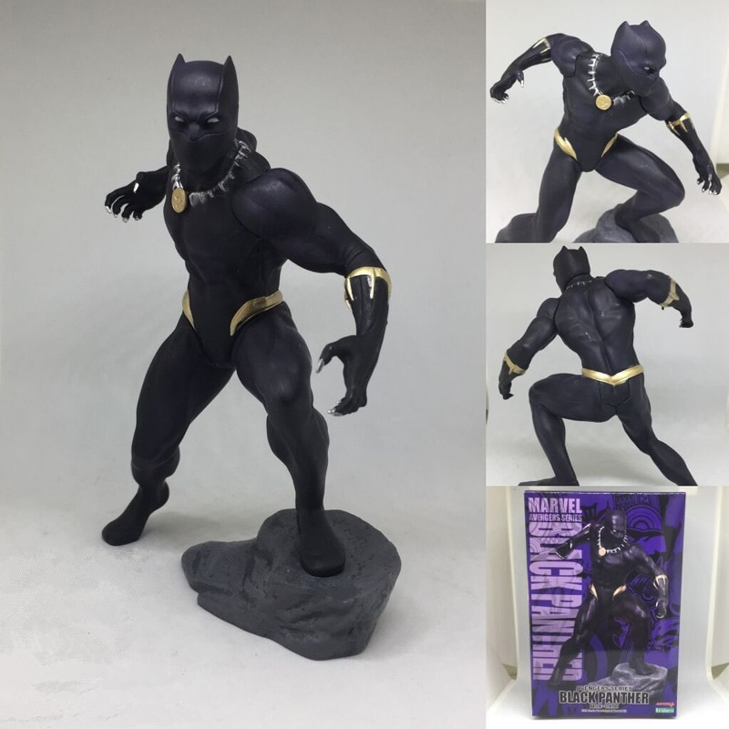 18cm Los vengadores de Marvel serie Pantera Negra ARTFX + estatua superhéroe PVC figura de acción coleccionable modelo niños regalo juguetes muñeca