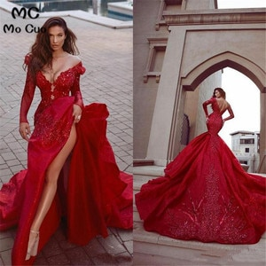 Luxuries 2020 Red Mermaid Prom Evening Dresses High Side Split Appliqued Lace Long Off the Shoulder Long Evening Gowns