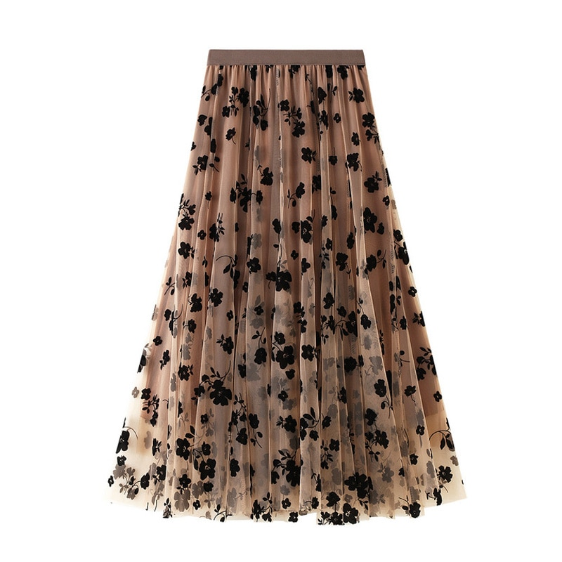 New 2021 Fashion Elegant Floral Summer Tulle Skirt Womens Spring High Waist Pleated Skirts Ladies Blue Maxi Female