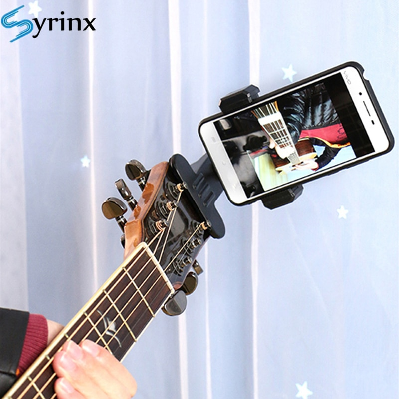 2020 New Guitar Head Clip Mobile Phone Holder Live Broadcast Bracket Stand Tripod Clip Head Support Desktop Music Guitar Holder