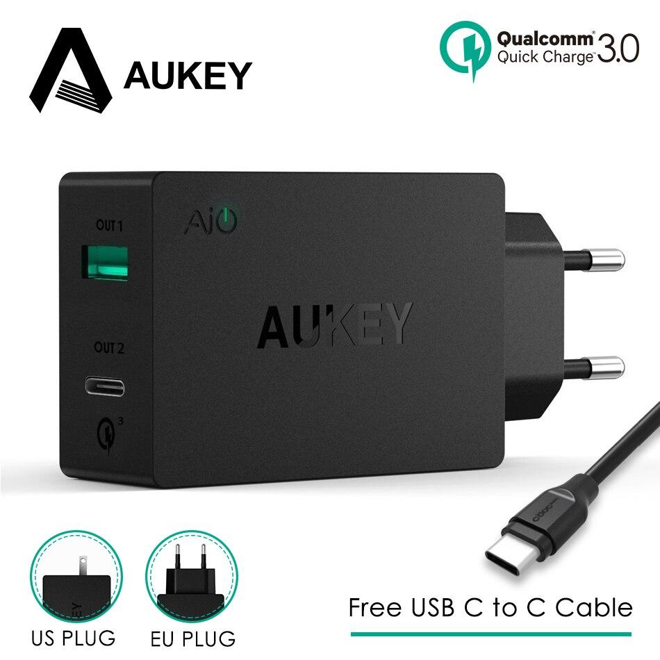 AUKEY-cargador de pared para teléfono móvil, dispositivo de carga rápida 3,0, 2USB,...