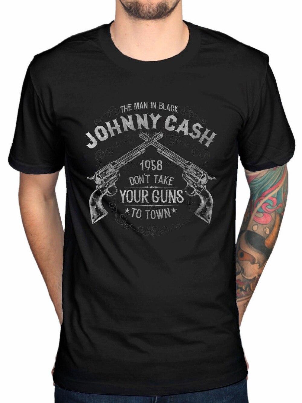 2019 nueva Camiseta de algodón de Johnny Cash Take Your Guns para hombre Camiseta de algodón negro camiseta de nueva moda