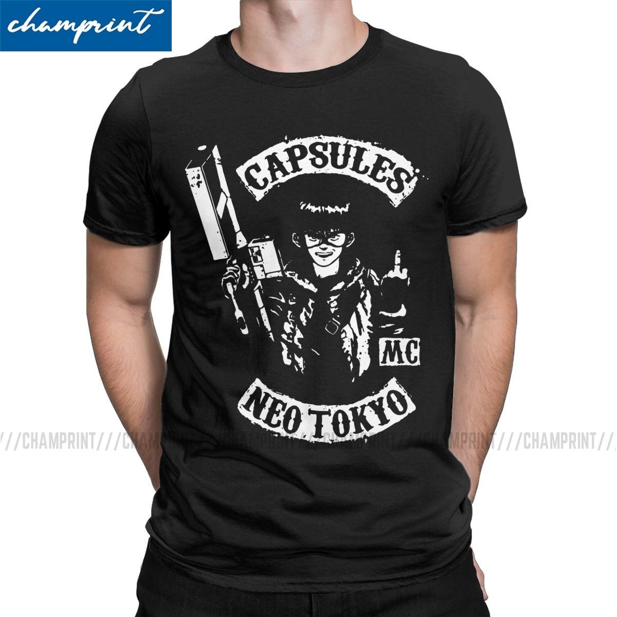 Neo tokyo cápsulas t camisa masculina único t-shirts o pescoço akira kaneda tetsuo japão manga t camisa de manga curta topos único
