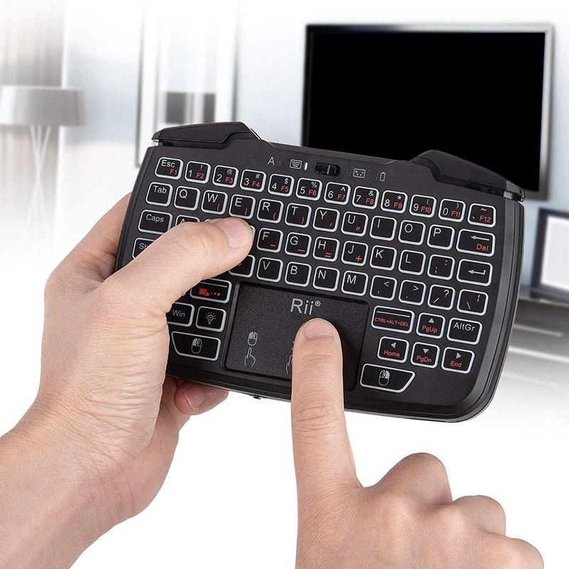 Rii-وحدة تحكم ألعاب لاسلكية محمولة RK707 ، 2.4 جيجا هرتز ، لوحة مفاتيح وماوس كومبو للكمبيوتر/Raspberry Pi2/Android TV Google/TV B