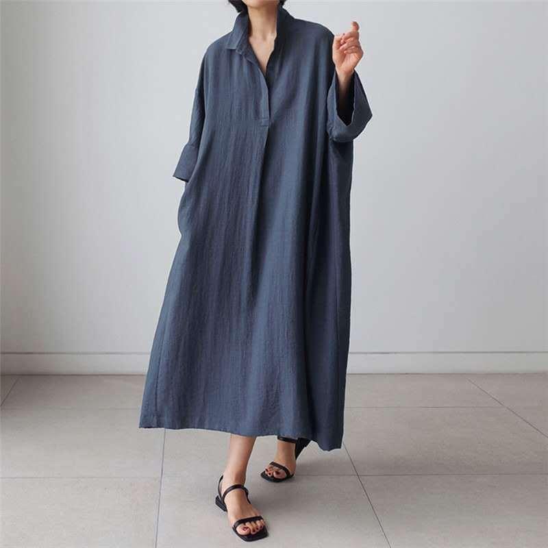 Nini país das maravilhas das mulheres solto camisa vestido 2020 outono batwing manga vintage roupões vestido feminino tamanho grande vestidos longos tamanho grande