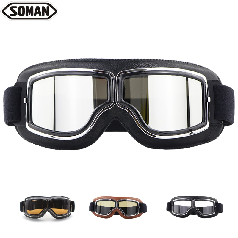 Retro Motorcycle Goggles Glasses Black Silver Riding Glasses Windproof Capacete Para Moto Leather Oculos Open Face Cascos Gafas
