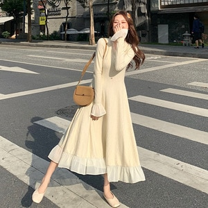 Knitted dress women's new French celebrity temperament in autumn and winter