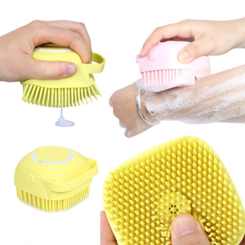 Cepillo de silicona para masajes, guantes suaves para pelar el cuerpo, cepillo de baño, guantes exfoliantes, cepillo para el cuerpo con baño y Rocío