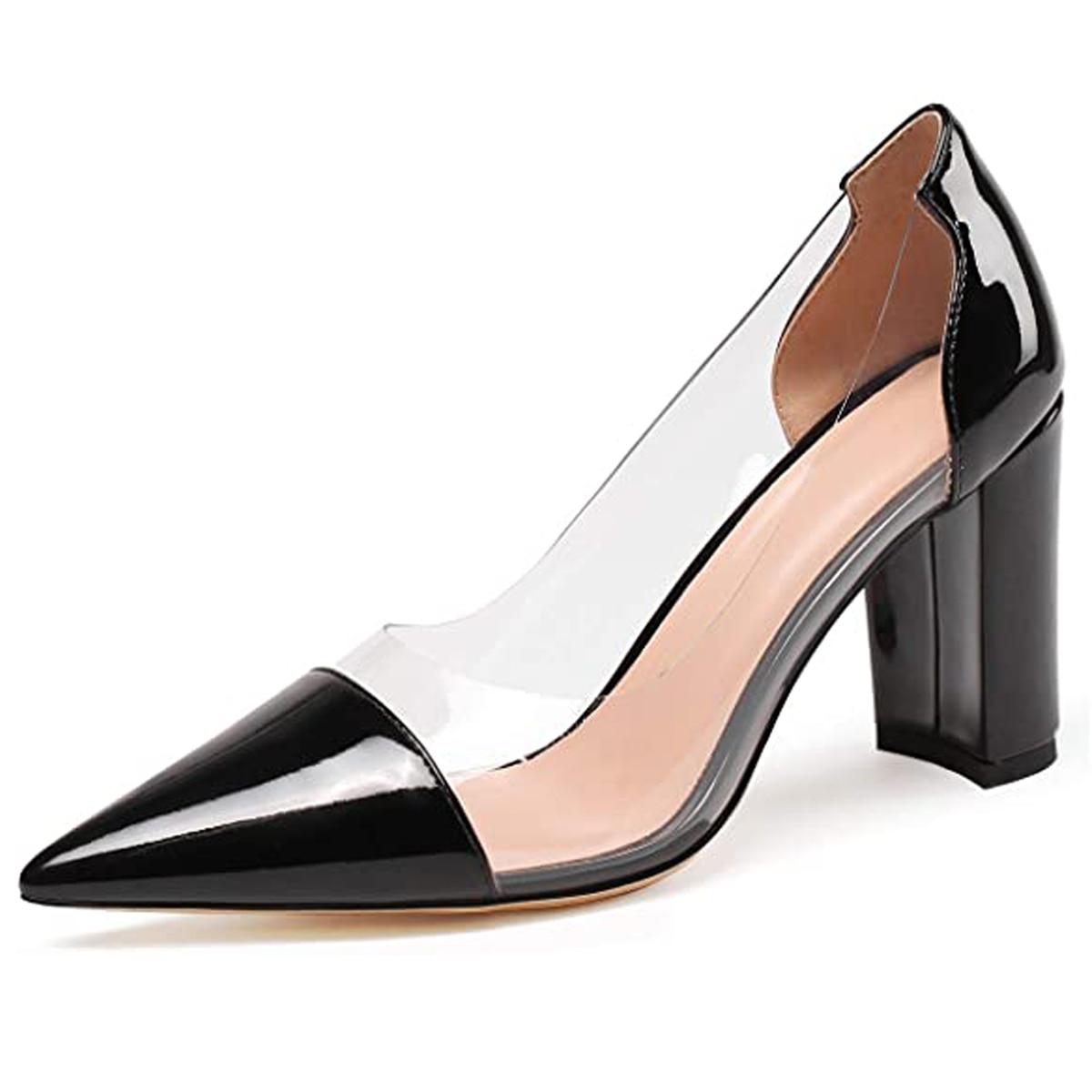 LOVIRS-حذاء سهرة نسائي بكعب عالٍ ومقدمة مدببة ، حذاء بدون أربطة ، كعب سميك 10 سنتيمتر ، US 5-15