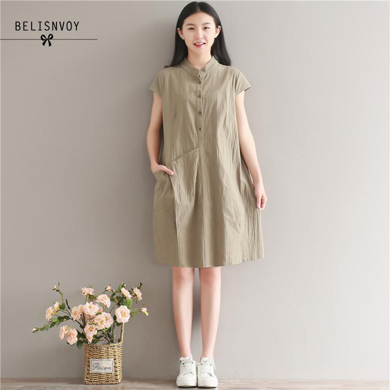 2020 Mori Girl verano estilo sólido vestido mujeres Vintage Ethnic Vestidos de talla grande Vestidos Mujer Lino algodón Sundress