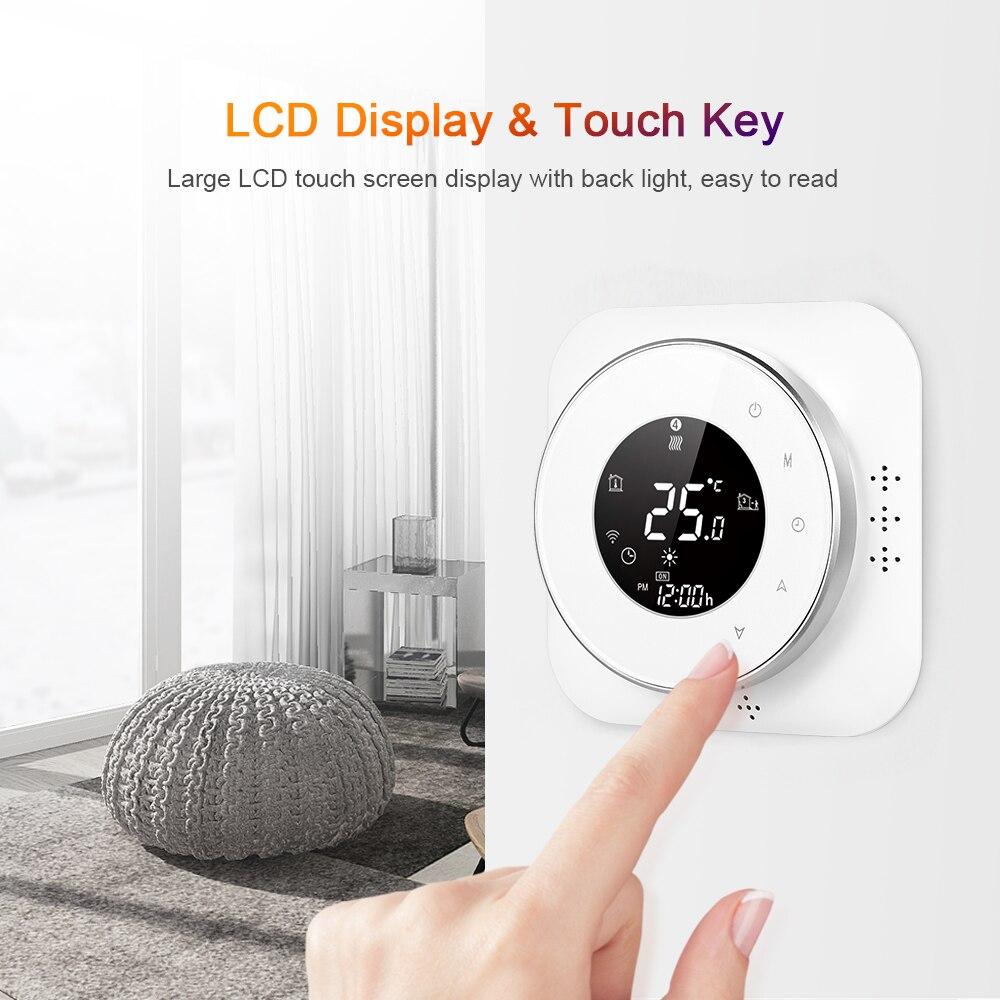واي فاي منظم حراري ذكي ست فترات منظم حرارة قابل للبرمجة صوت APP التحكم المرجل التدفئة منظم الحرارة اليكسا المنزل الذكي