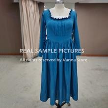 Women Victoria Royal Photography Casual Dress Vintage Elegant Tea Length Princess Long Sleeves Linen