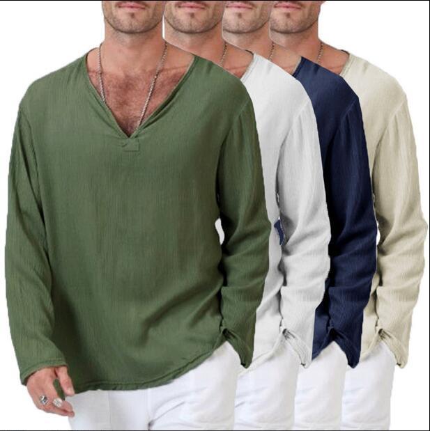 Camiseta larga de manga larga de color sólido con cuello en V...