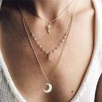 bohemia ethnic fashion 3 layers gold plating alloy palm tree moon charms pendants women jewelry