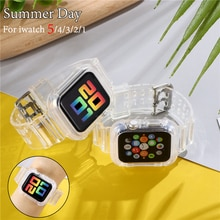 Correa deportiva para Apple Watch Series 6 1 2 3 4 5, correa de silicona transparente para Iwatch 5 4, 38mm, 40mm, 42mm y 44mm, novedad