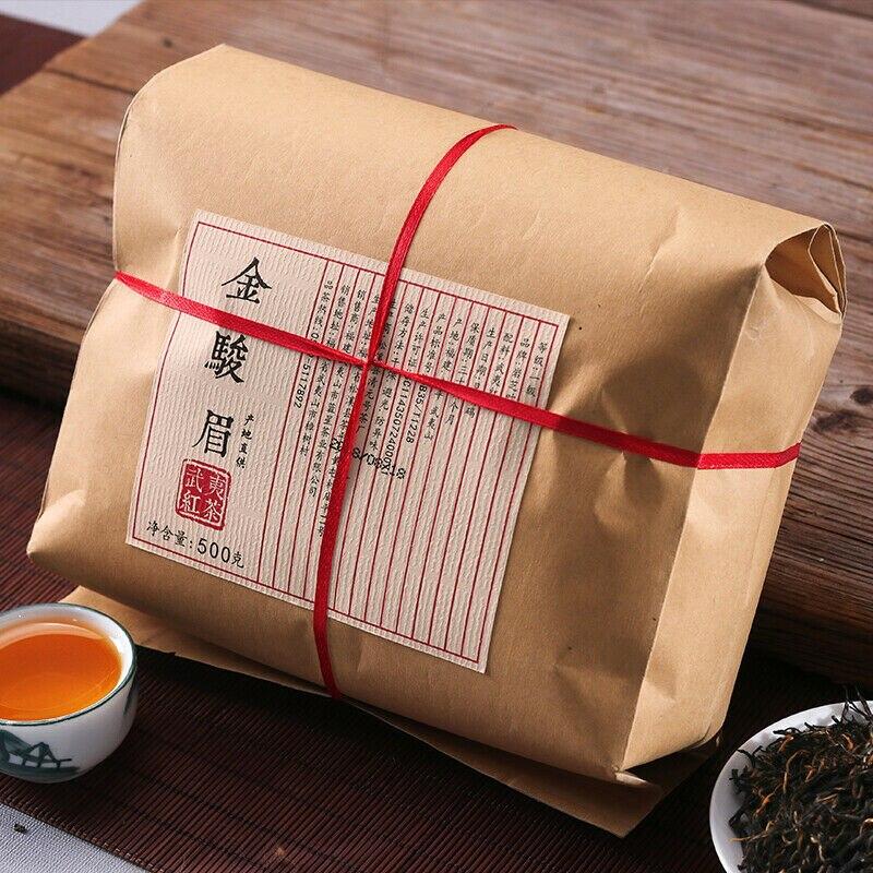 Wuyi الشاي الصيني الأسود الصيني جين جون مي الشاي تشا الذهبي الحاجب الشاي 500g