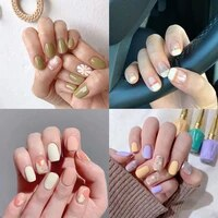 14pcssheet glitter gradient color nail stickers wave point full cover nail polish sticker diy blue green self adhesive nail