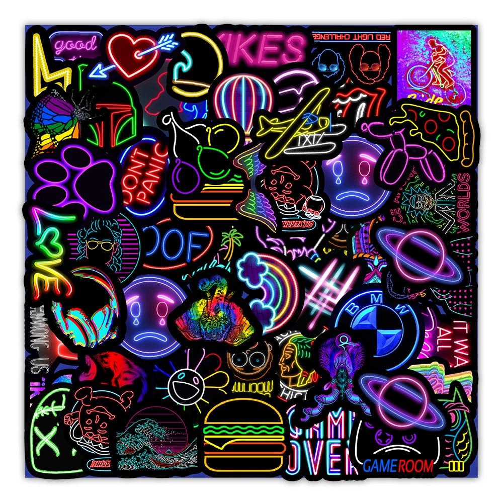 10/30/50PCS Neon Light Cartoon Graffiti Stickers DIY Bike Skateboard Fridge Laptop Luggage Cool Waterproof Sticker Decal for Kid laptop stickers pack camping travel graffiti punk cool cartoon animal waterproof stickers diy bike suitcase skateboard sticker