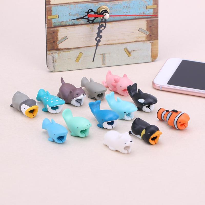 ALLOYSEED, Protector de mordida de cables con forma de Animal bonito, soporte para Cable de carga USB, cubierta protectora para teléfono móvil y ratón