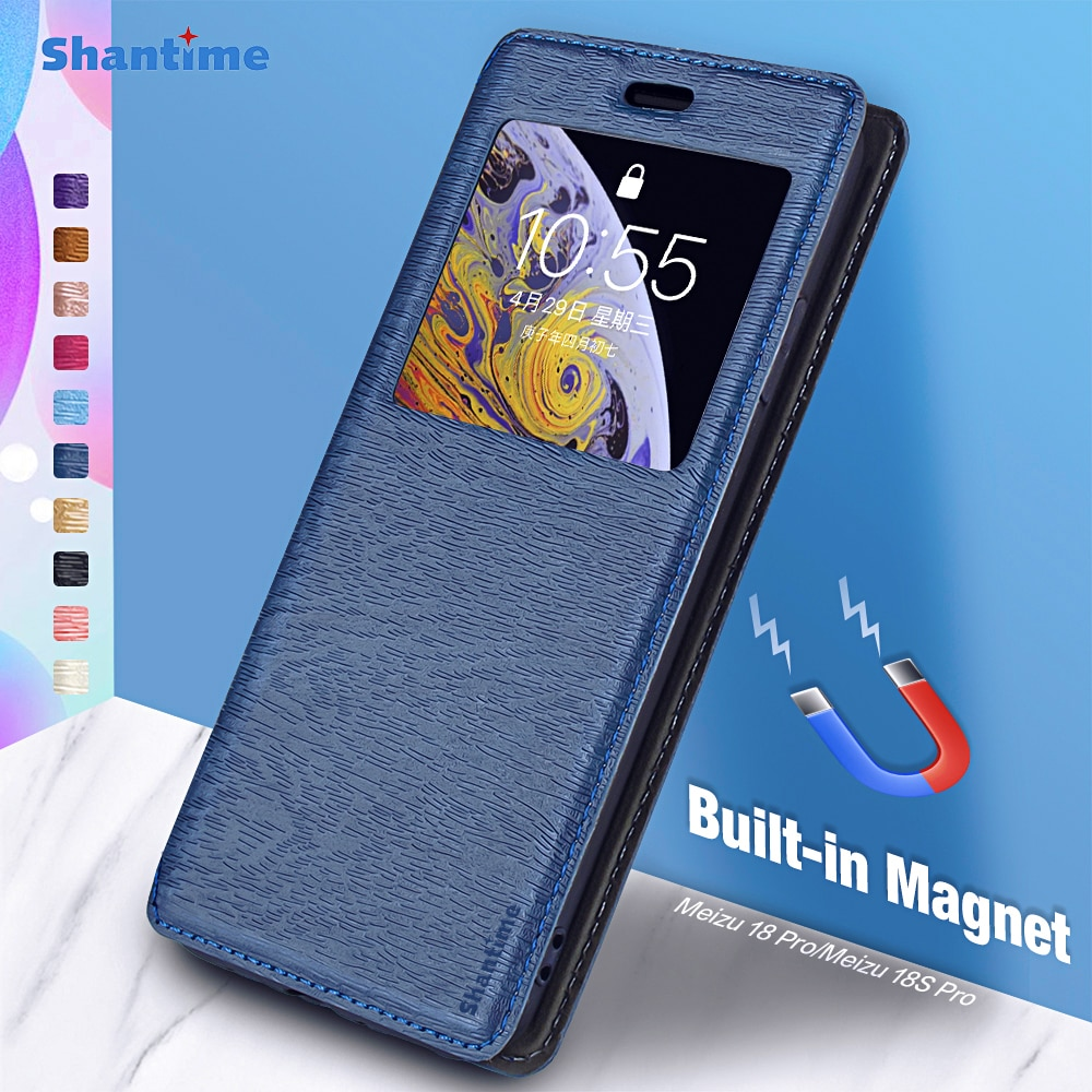 For Meizu 18 Pro Case For Meizu 18S Pro View Window Cover Invisible Magnet and Card Slot and Stand