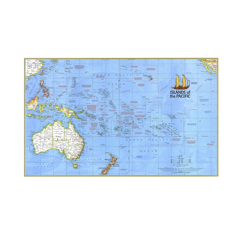 Фото - 60x90cm  Fine Canvas Spray Painting Map Of The Islands Of The Pacific Ocean Creative Wall Map For Home Decor jon butterworth map of the invisible