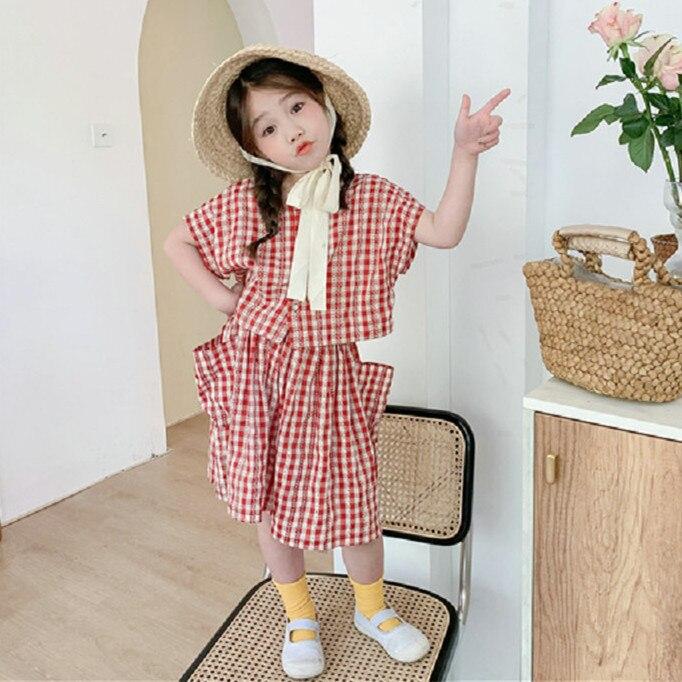Mihkalev, conjunto de ropa de verano 2020 para niños, conjuntos de ropa a cuadros de algodón para niños, camiseta + falda, 2 piezas, trajes para niñas, chándal