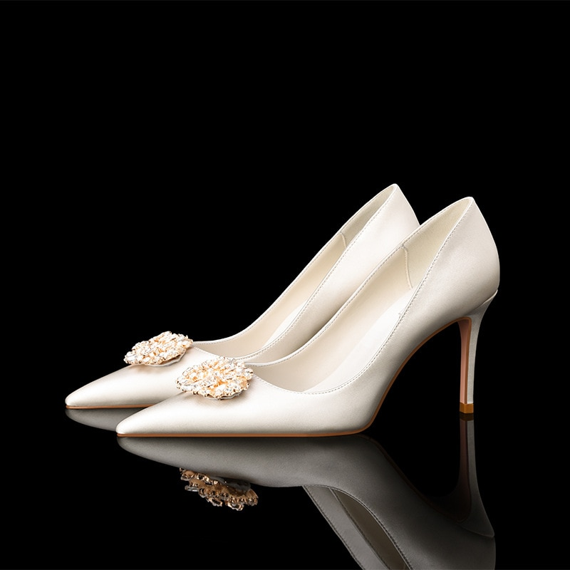 Luxury Women Pumps 2021 High Heels Basic Elegant Pointed Toe Slip-on Wedding Party Brand Fashion Shoes Lady Mother's Day Gift