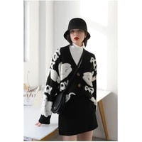 womens sweater bear pattern button cardigan knitted jacket autumn and winter all match casual loose top coat sweater women