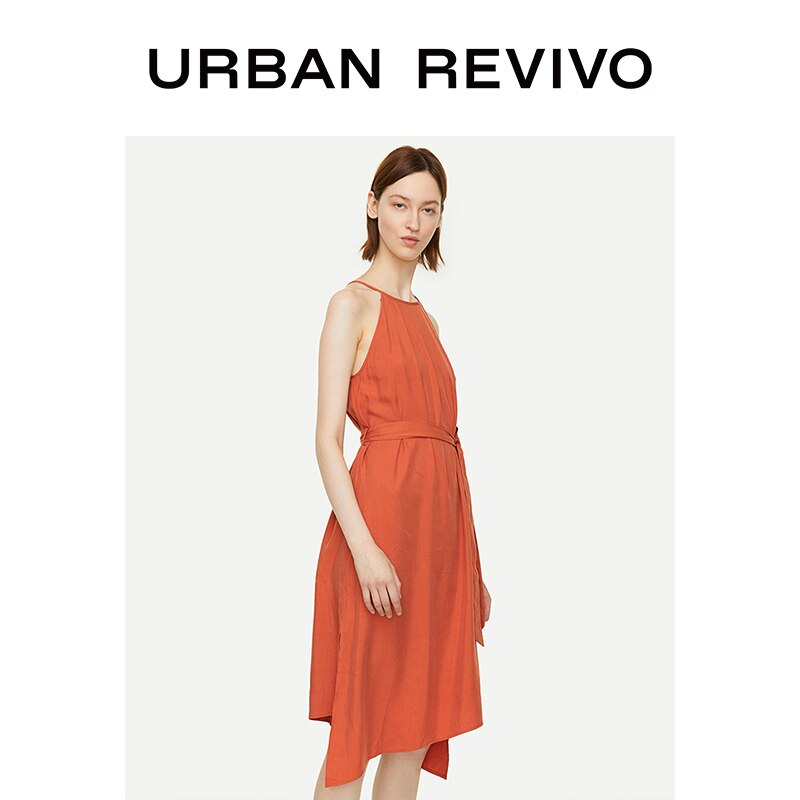 UR New Autumn Women Asymmetric Tied Sleeveless Pleated Dress WG29S7AE2003