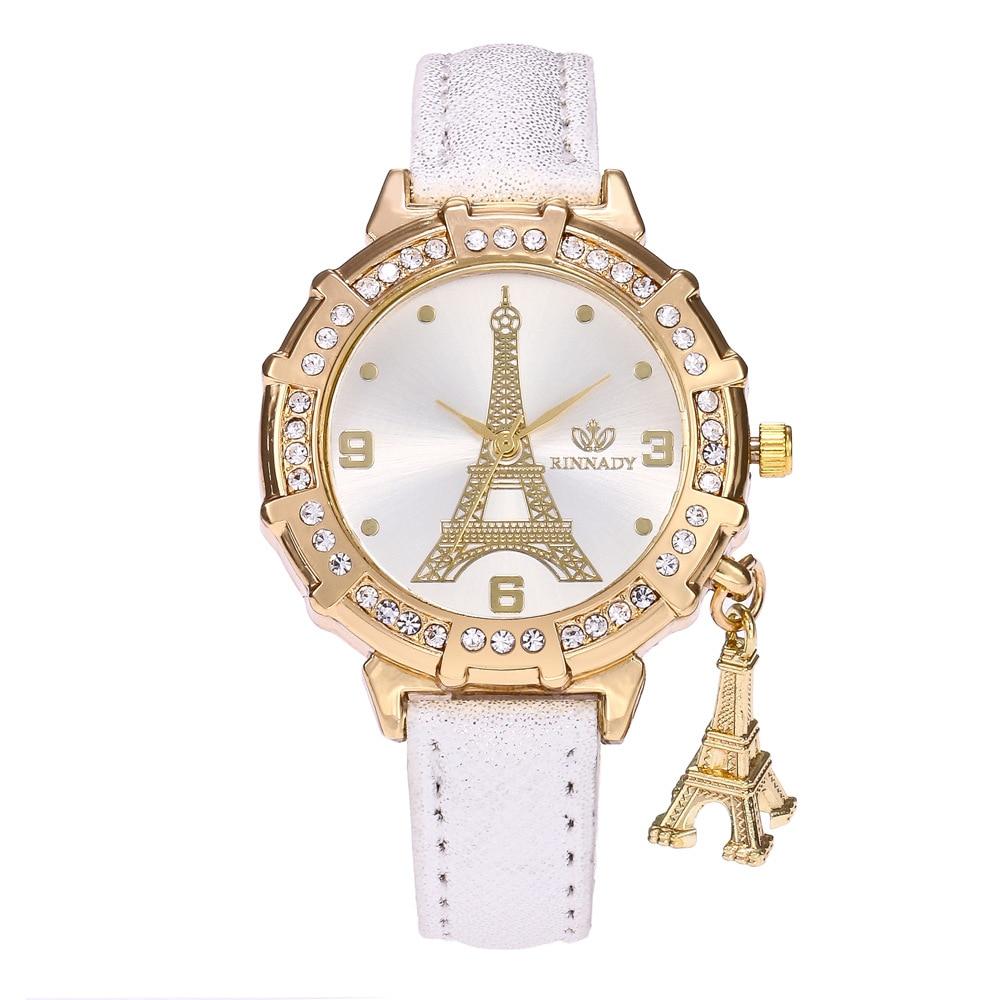 Reloj de cuarzo de lujo para mujer, correa de cuero blanco para chica, patrón Digital de Torre Eiffel, colgante de diamante, esfera, relojes de regalo para mujer