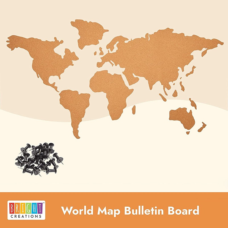 Creative Bulletin Board Set Adhesive Cork World Map Notice Display Board Ornament with 16 Push Pins for Home Office Photo Board gold feather shape thumbtacks creative metal push pins for memo board or cork board 9pcs set home office stationery gift set