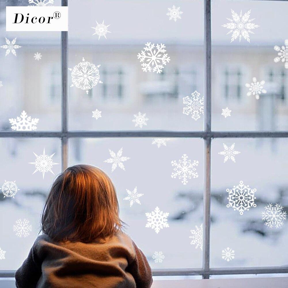 Dicor dos desenhos animados adesivos de natal para janela vitrine removível santa cláusula boneco de neve decoração para casa adesivo pvc ano novo decalque de vidro