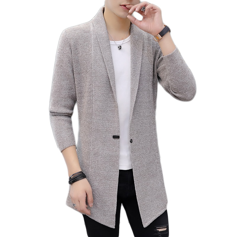 Мужские осенне-зимние свитера, мужские вязаные свитера X-long, мужские длинные стильные кардиганы, однотонные свитера, пальто