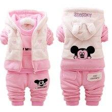 Minnie Baby Girl ropa nieve caliente niños trajes Casual bebé conjuntos de ropa de niño chaqueta + sudaderas + Pantalones deportivos invierno niños Set