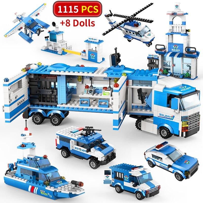 1115 pcs City Police Station SWAT Building Blocks Car Helicopter City House Truck Blocks Creative Bricks Toys For Children Boys