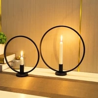 simple style candlestick nordic round design tea light circle candle holder restaurant home table candlelight dinner decoration