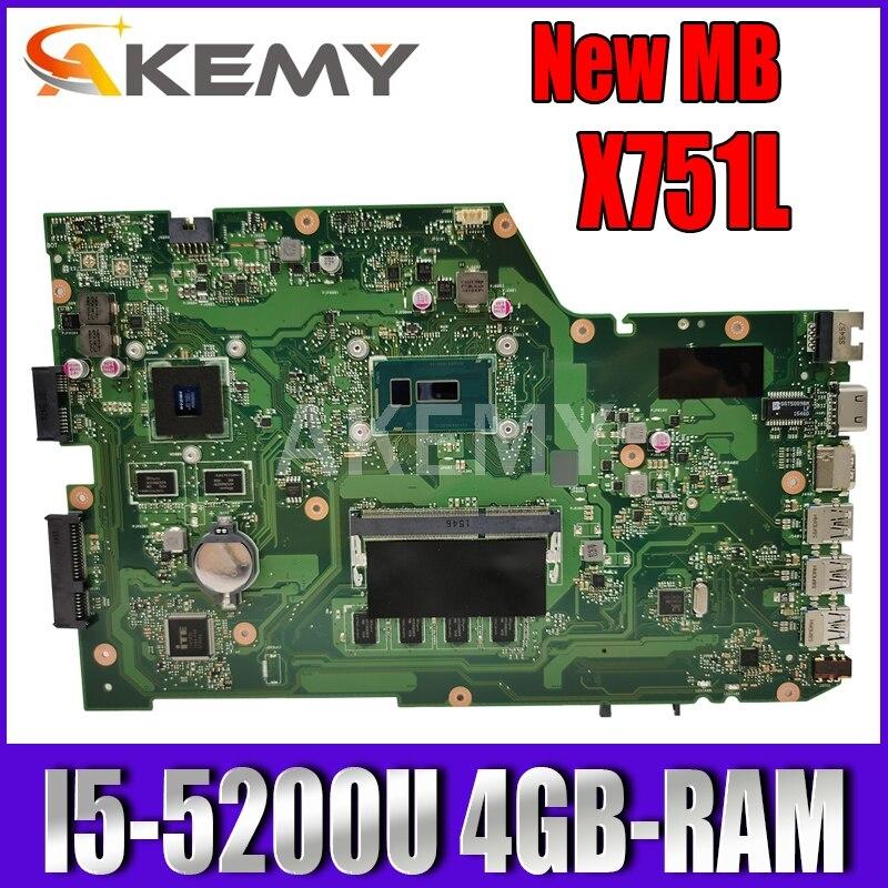 Akemy X751LB اللوحة ل Asus X751LJ X751LB A751L X751L اللوحة المحمول I5-5200U 4GB-RAM GT920M EDP شاشة
